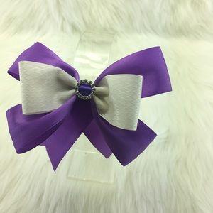 Other - Handmade Satin Purple/White Hair bow Ribbon